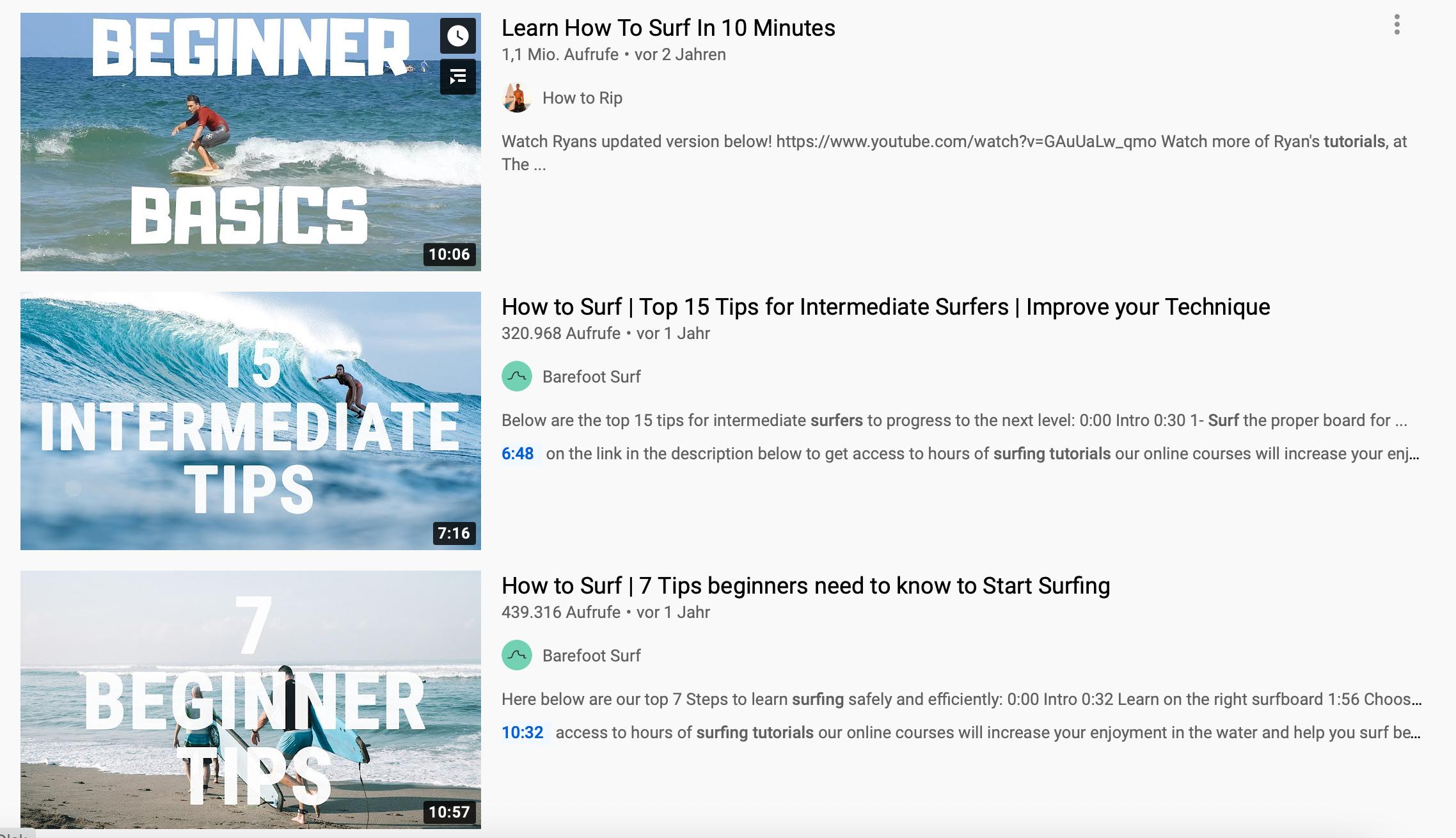 """Die Suchergebnisse für """"Surf Tutorial"""""""
