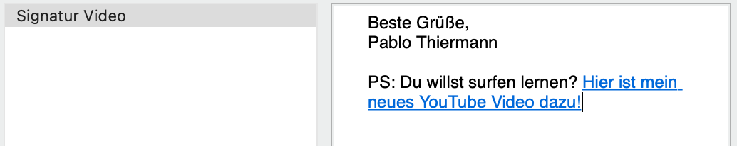 Eine Email Signatur mit verlinkten YouTube video