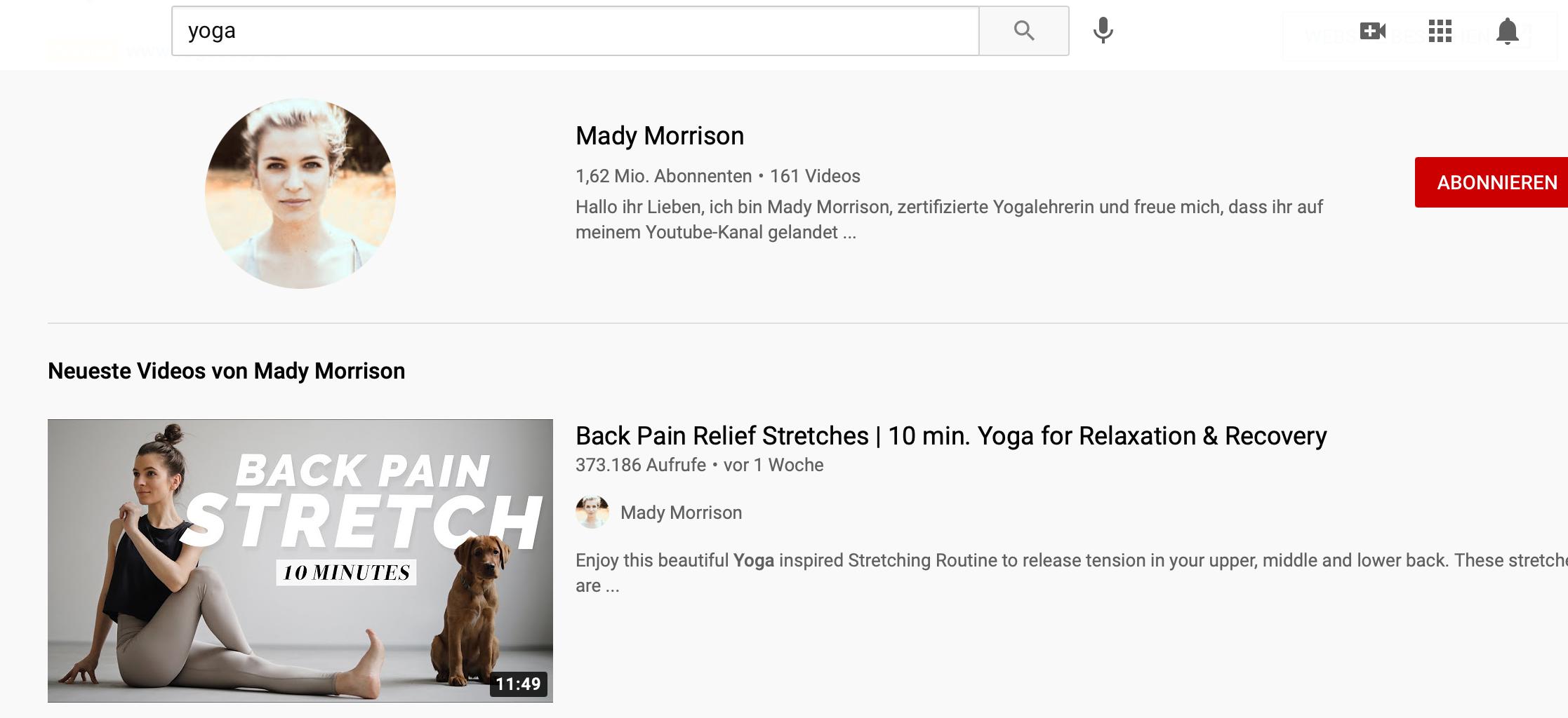 YouTube Suchergebnisse für Yoga