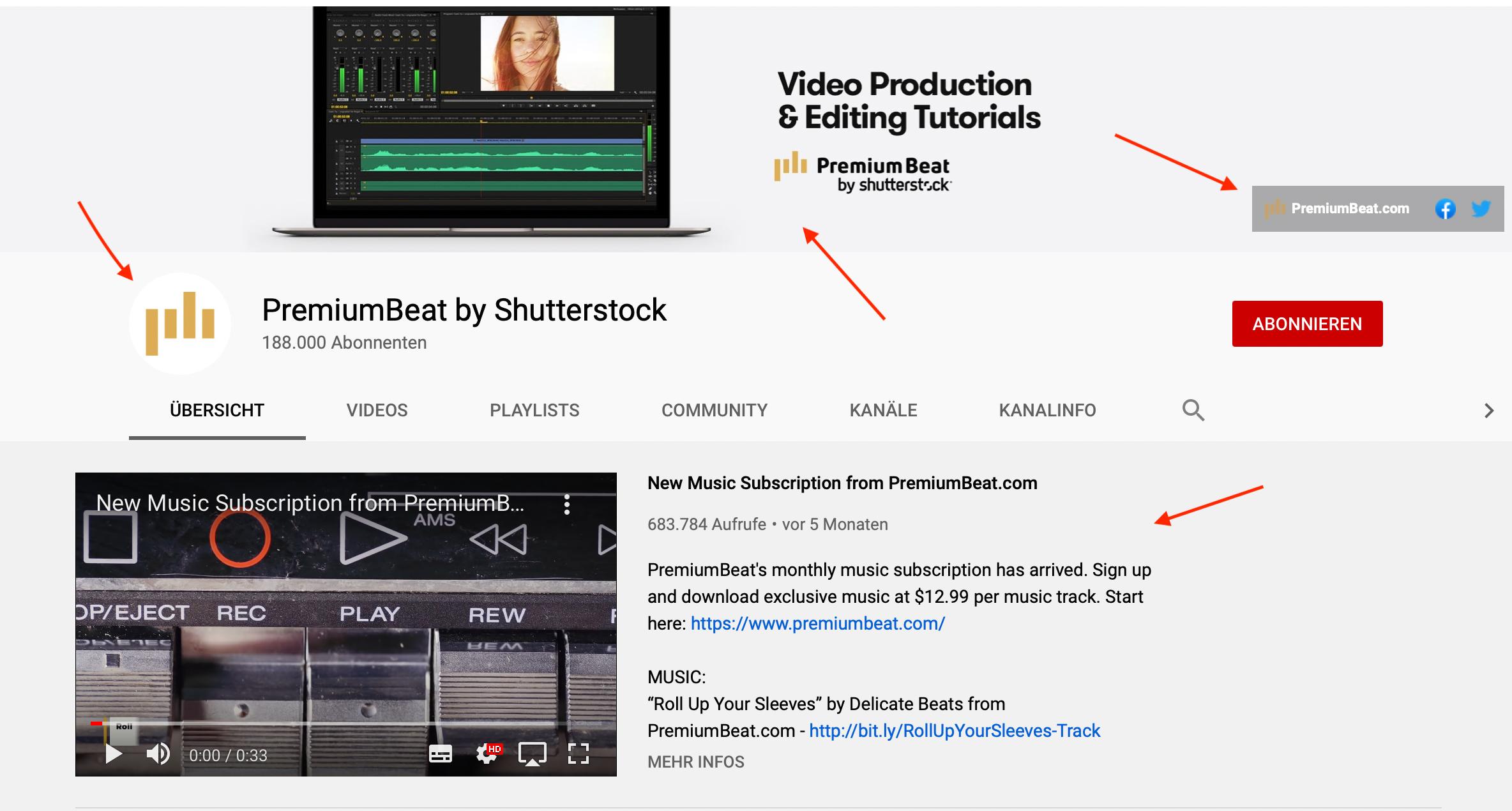 Premiumbeat Kanalseite auf YouTube