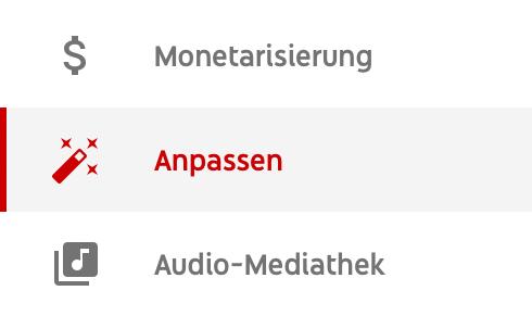 Der Anpassen Tab im YouTube Studio