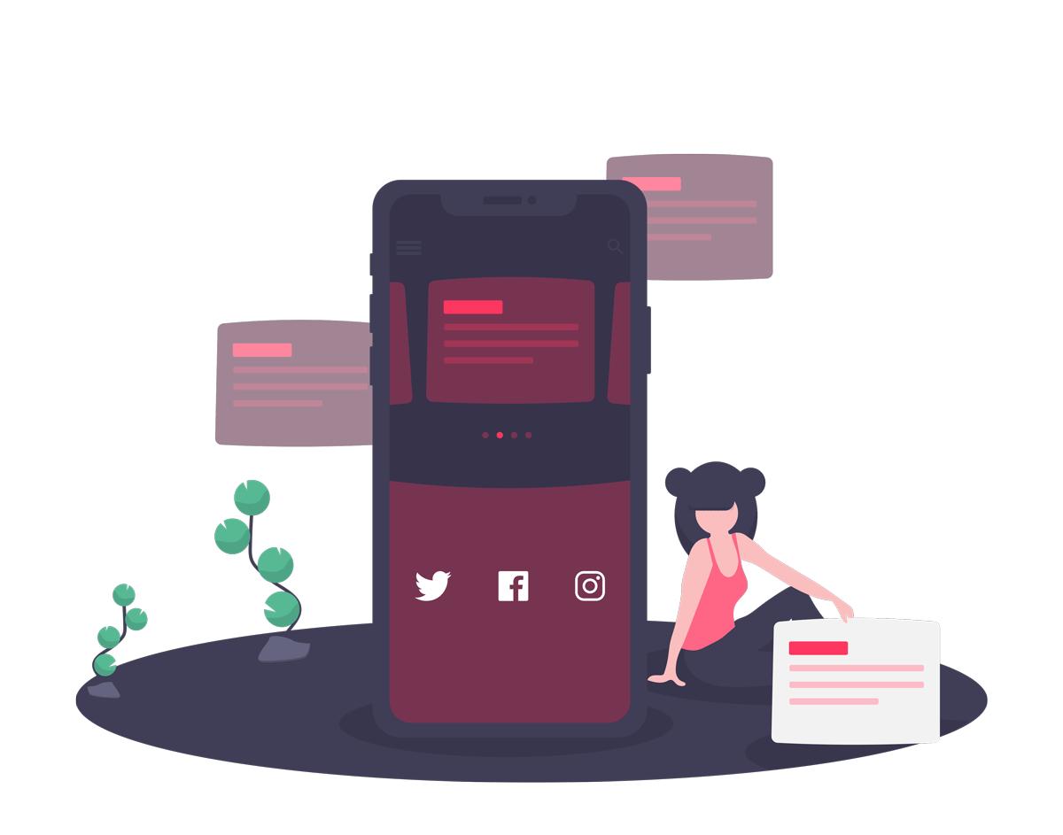 Soziale Medien und Kontakt Illustration