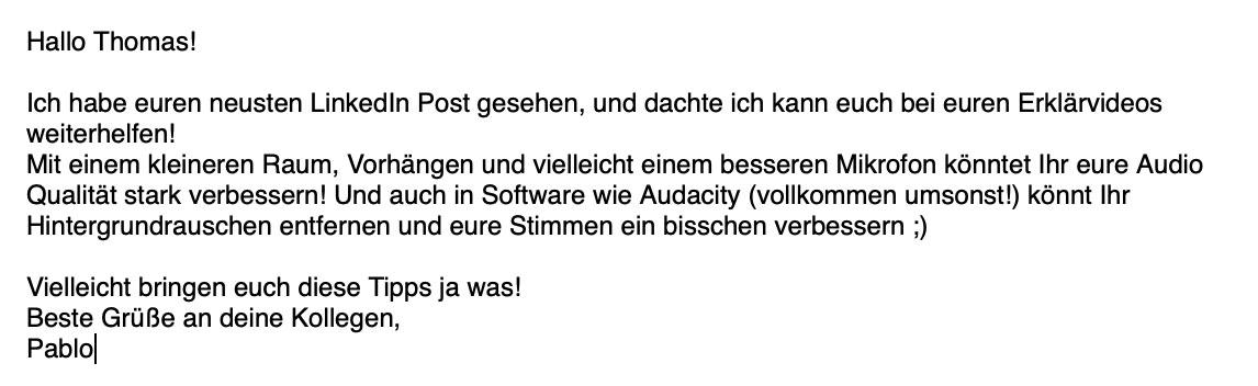 Ein Beispiel für eine Email die das Prinzip der Konsistenz nutzt.