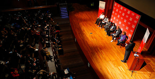 """Roland Martin moderates the panel for """"Is School Choice the Black Choice"""" at Morehouse College"""