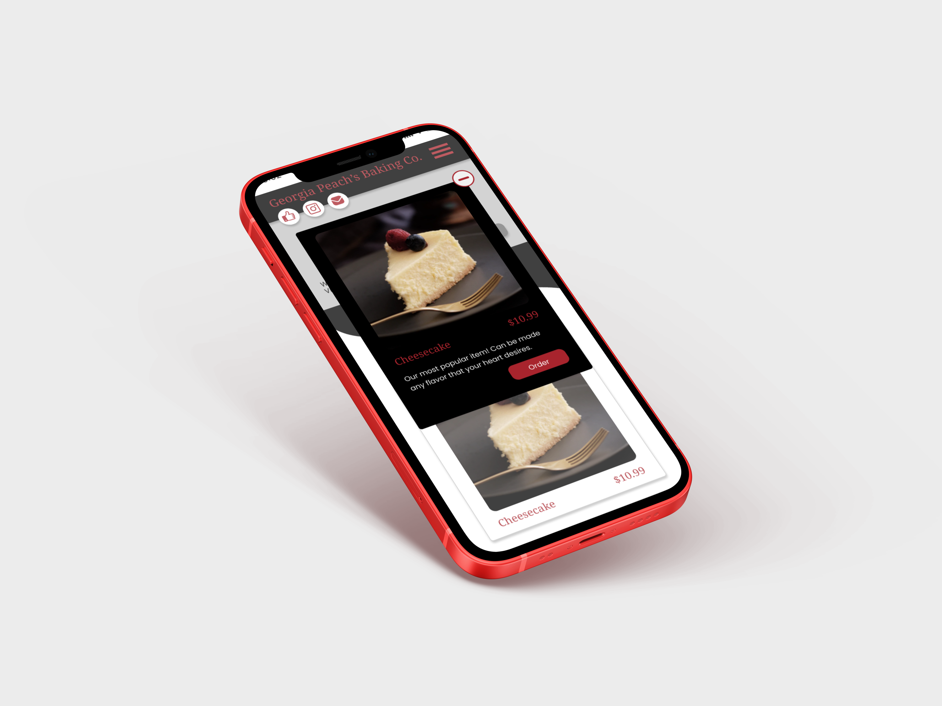 Red iPhone showing the item details page