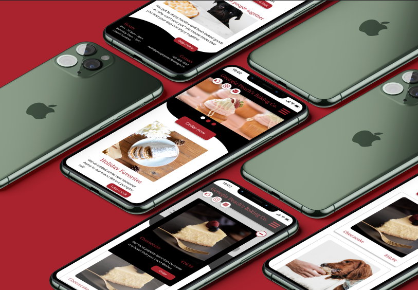 Several iPhones on a red background showing a bakery website