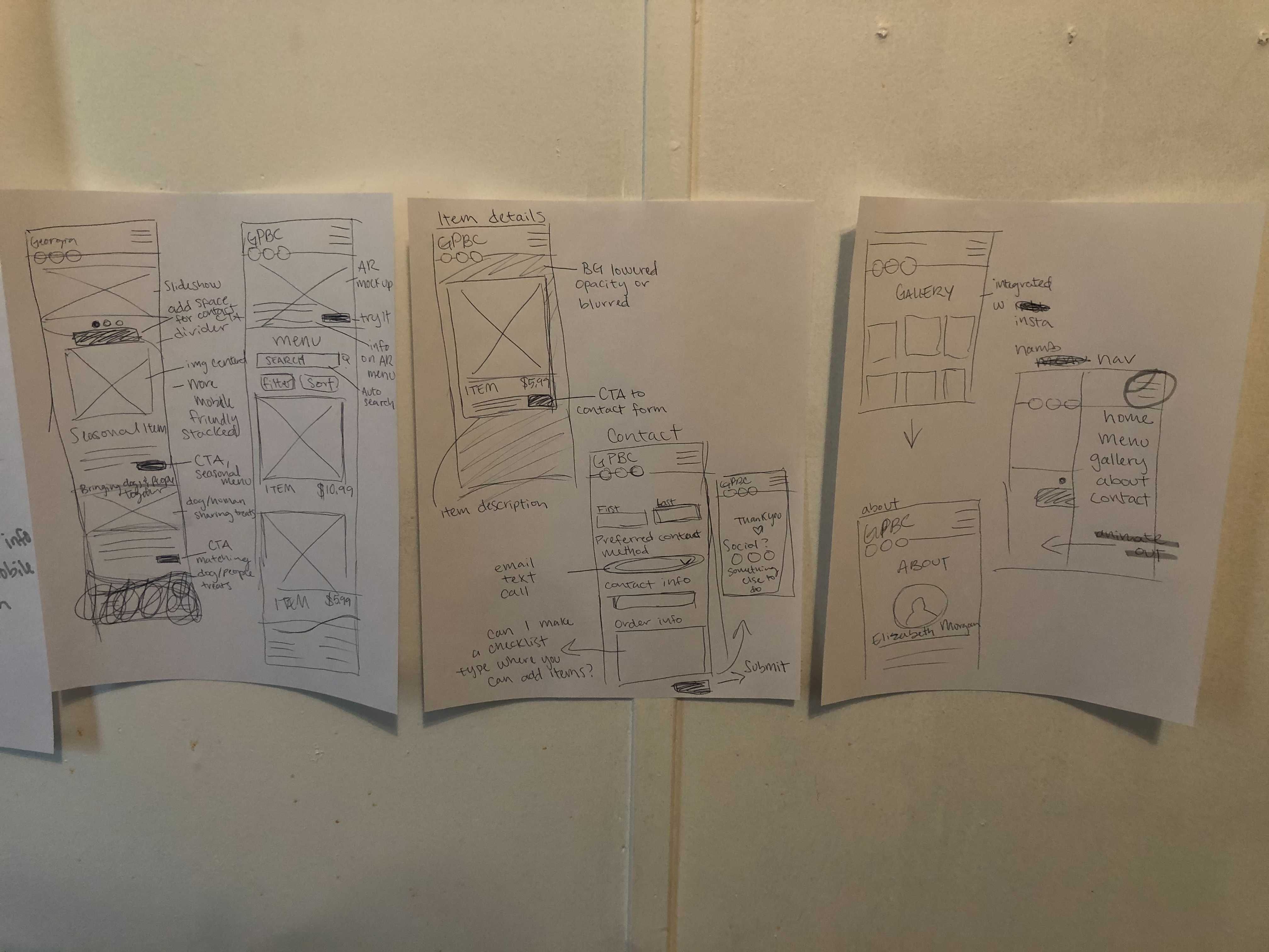 Three pieces of paper hanging on the wall, showing rough sketches of the site design
