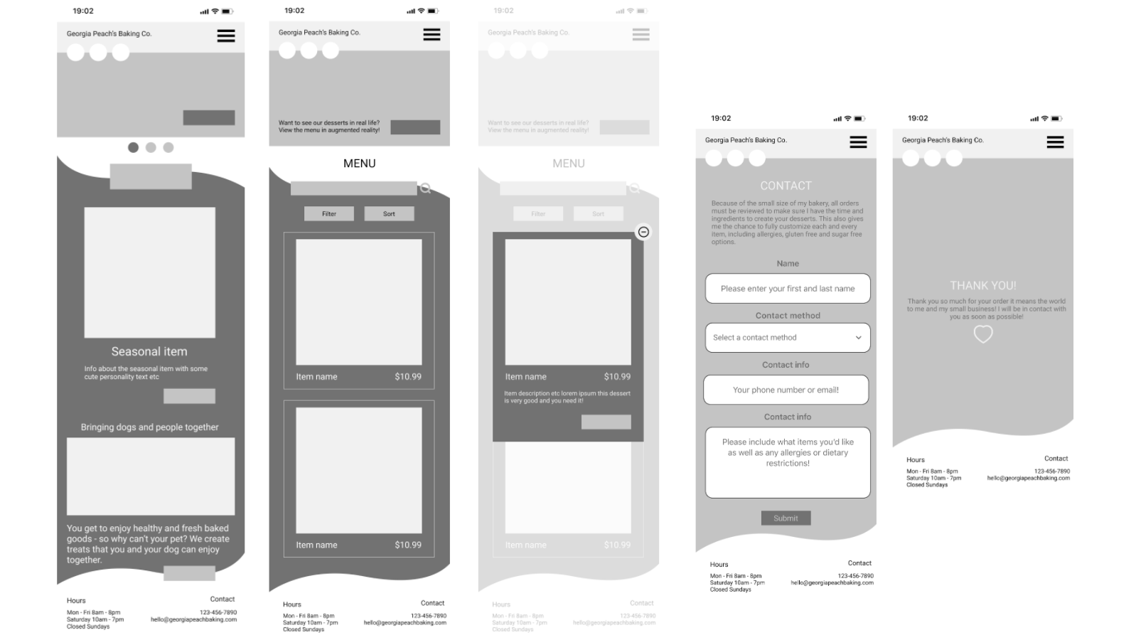Grayscale wireframes showing the home page, menu, item details, order form and thank you screens