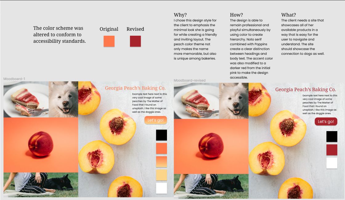 Moodboard showing an image of cheesecake, a white fluffy dog, a peach, a woman sitting in grass next to a dog and peaches sliced in half on a white textured counter.