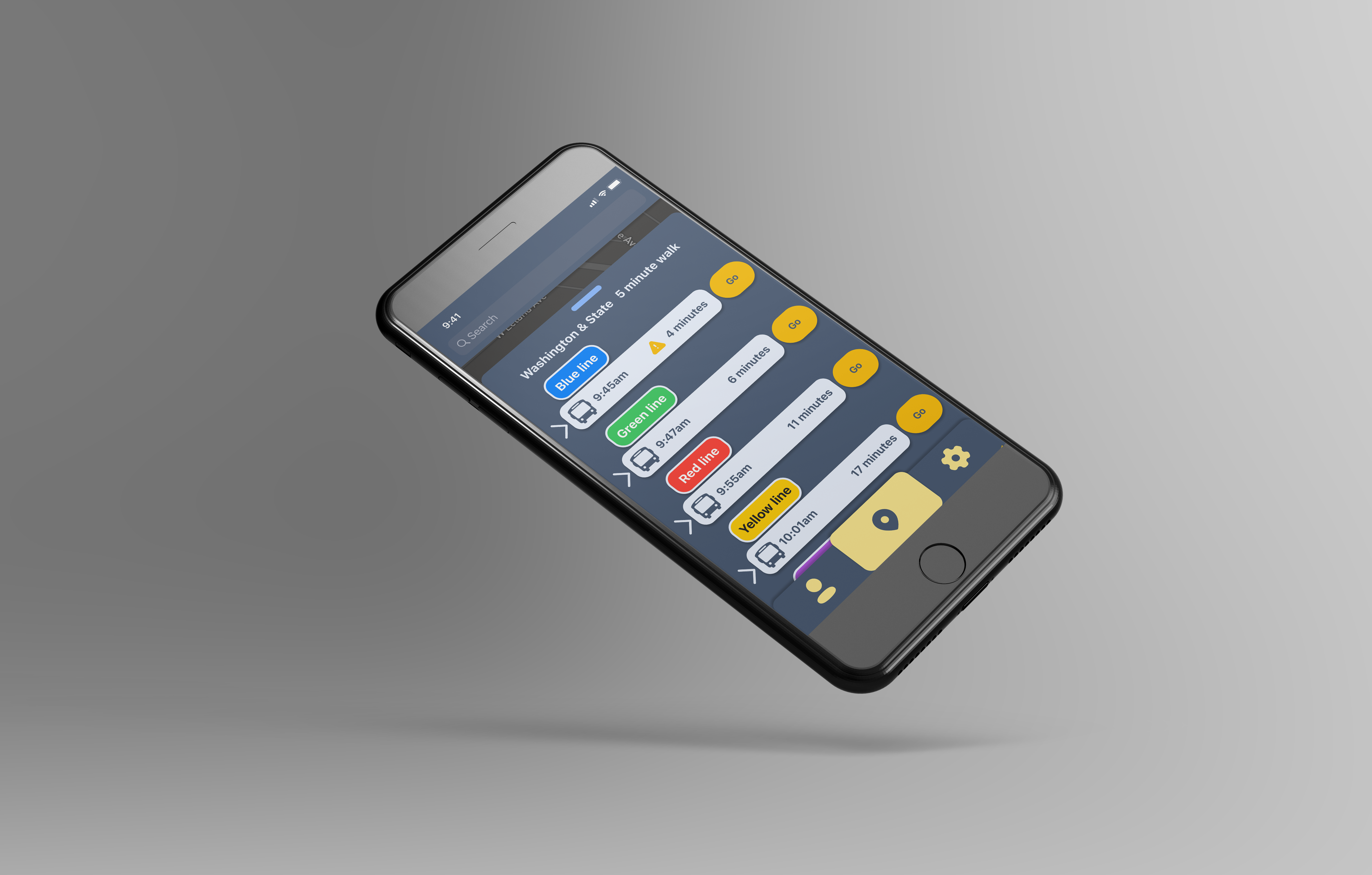 Image of a black iphone floating. It is displaying an app with a list of bus arrival times.