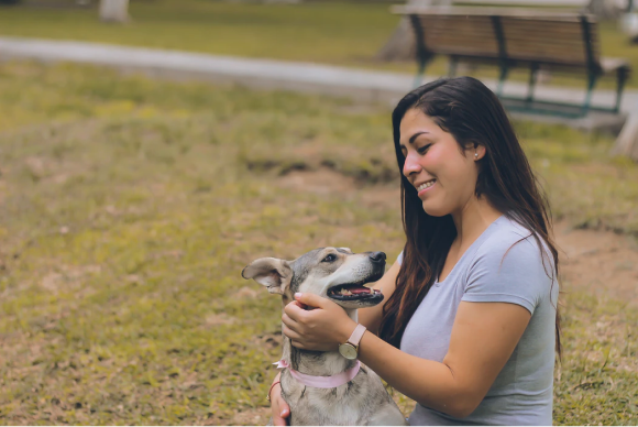 Woman smiling at dog in park