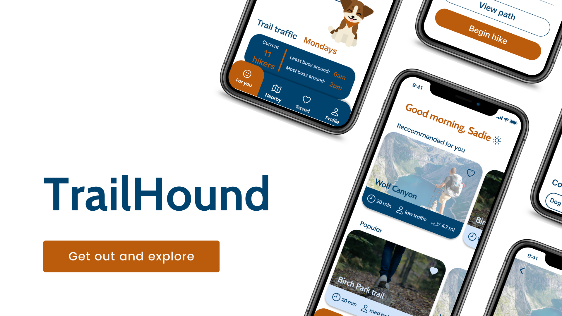 "Left side reads ""TrailHound"" in blue with an orange button below reading ""Get out and explore"". Right side has iPhones at a diagonal, showing the app on screen."
