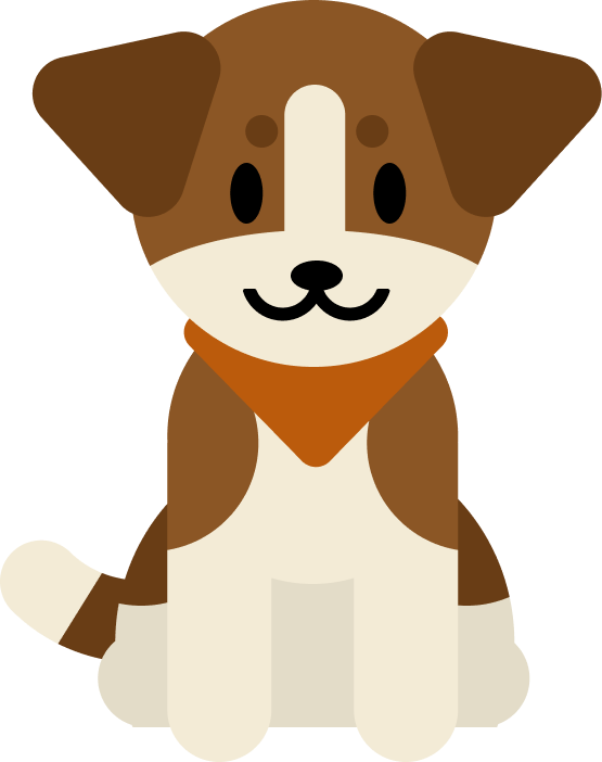 App mascot Scout, a brown and white dog with floppy ears wearing an orange bandana. He looks content with a relaxed smile.