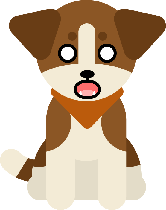 App mascot Scout, a brown and white dog with floppy ears wearing an orange bandana. He looks shocked with his eyes wide and mouth open.