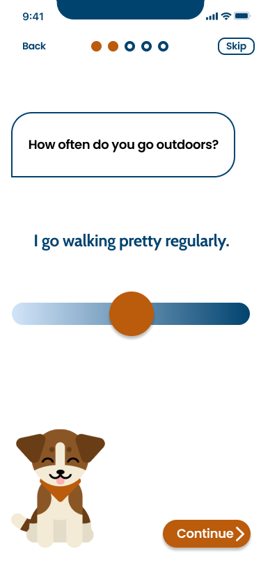 "Screen showing a stylized hound dog asking ""How often do you go outdoors?"" The slider is in the middle, indicating ""I go walking pretty regularly."" The dog looks happy and is sticking his tongue out."