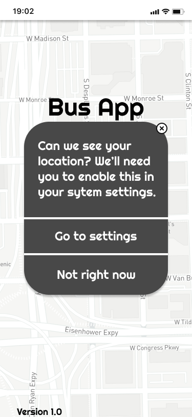Wireframe of screen asking to see user's location