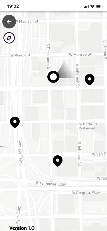 Wireframe showing map of nearby stops