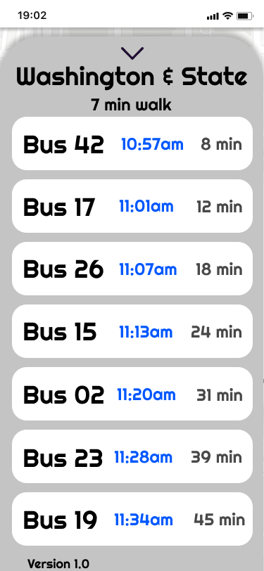 Wireframe of screen showing bus arrival times for Washington & State