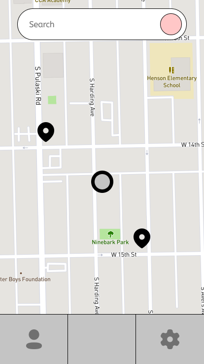 Wireframe of map showing nearby stops