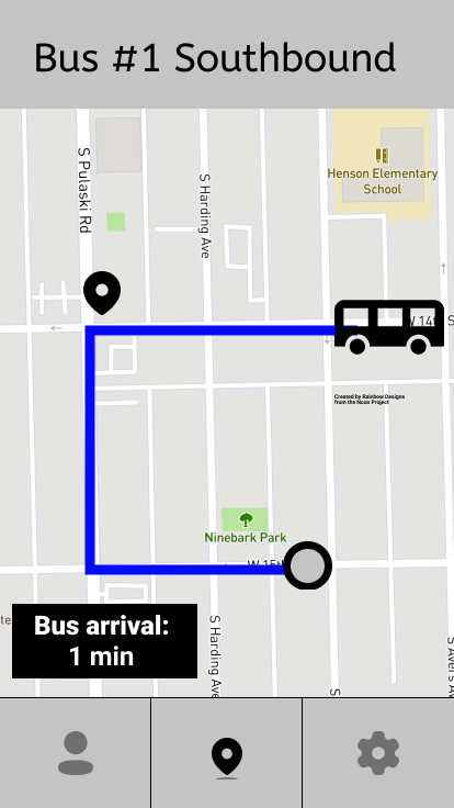 Wireframe of real time map showing bus arrival