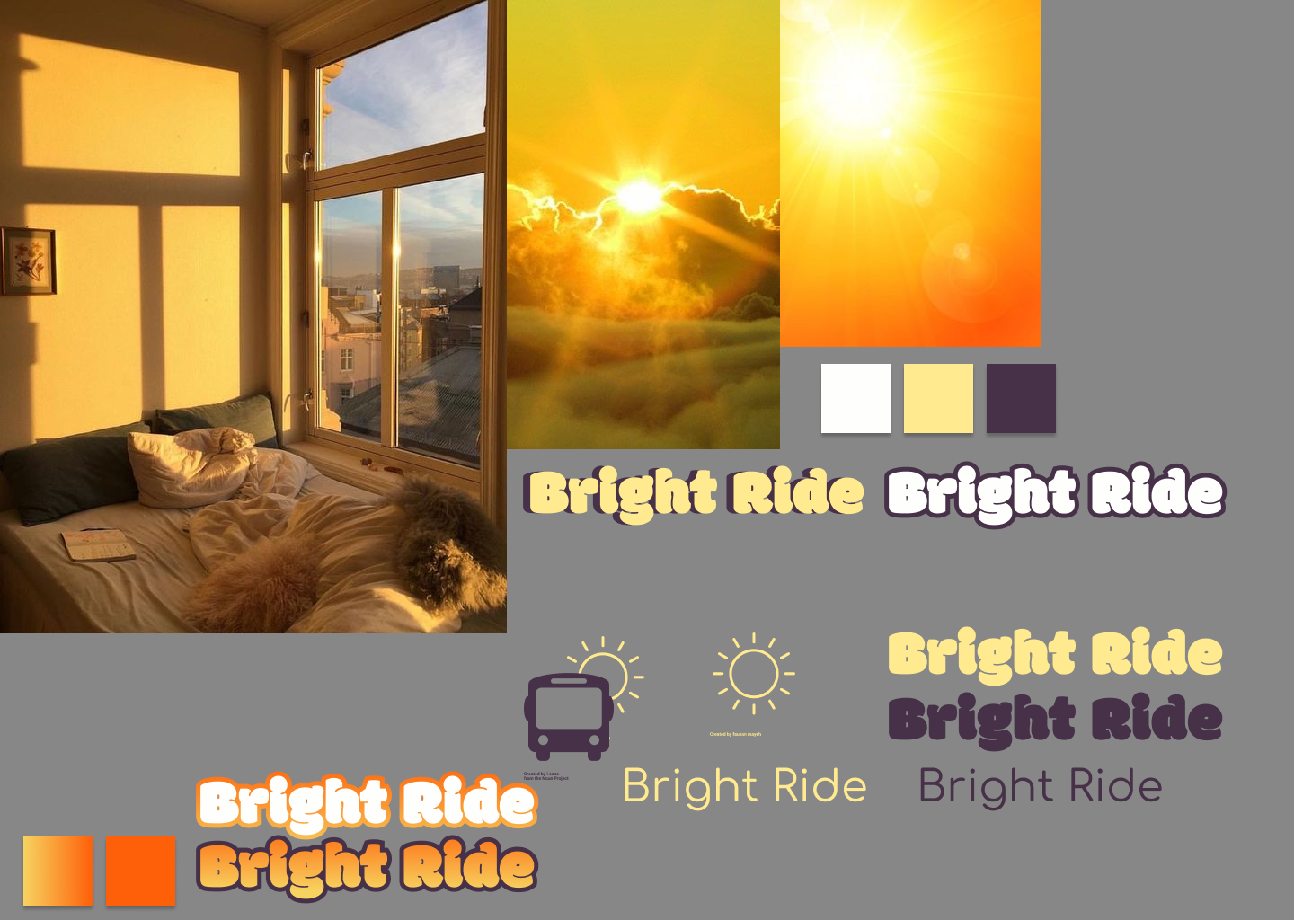 "moodboard featuring three very yellow images of sunrises and logo reading ""BrightRide"" tested in different colors"