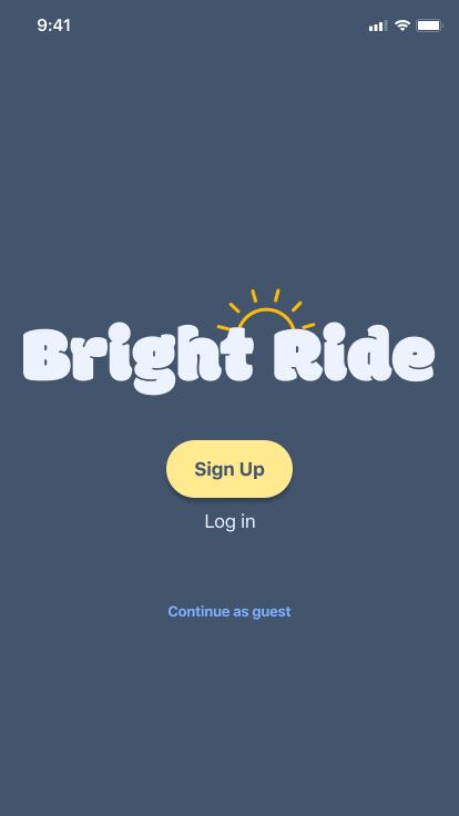 Splash screen asking user to sign up or log in