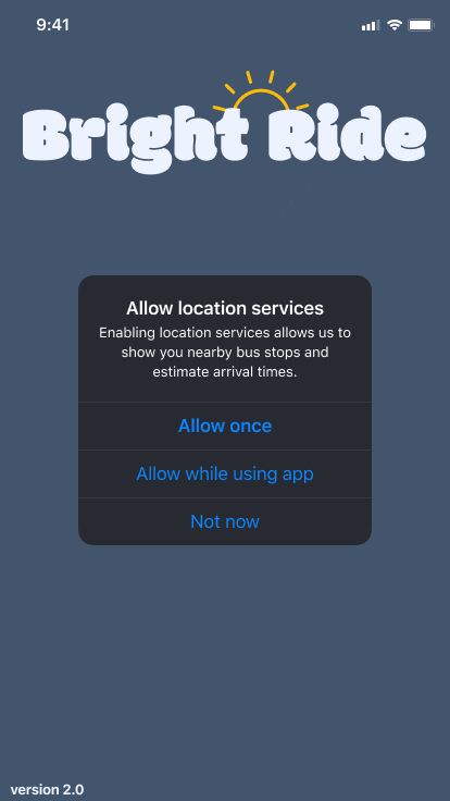 Screen asking for permission for location services