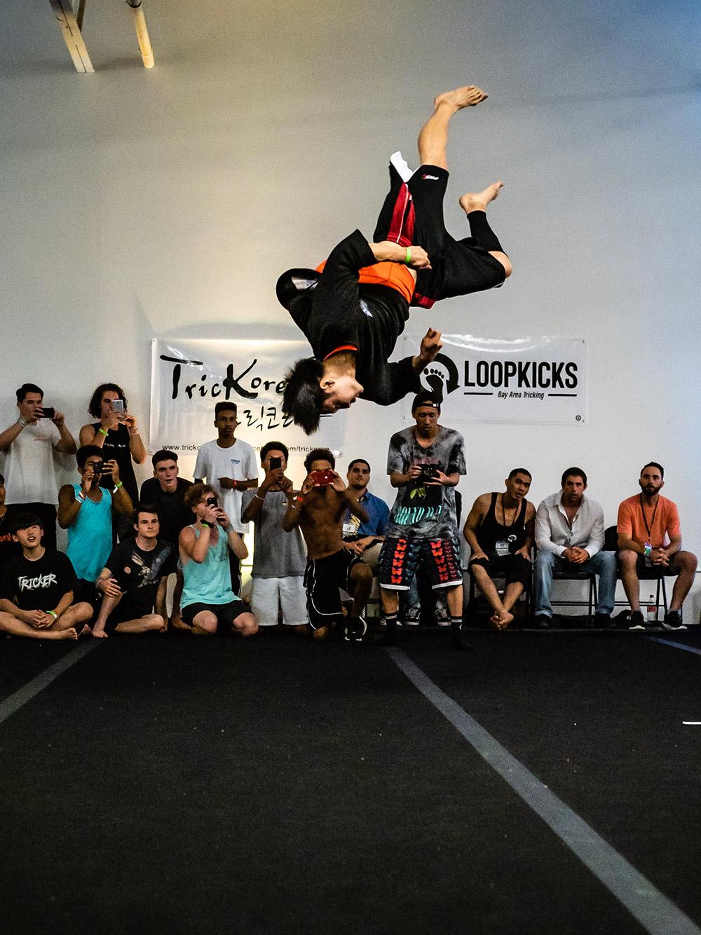 Taka Enomoto (Japanese tricker) doing a flip.