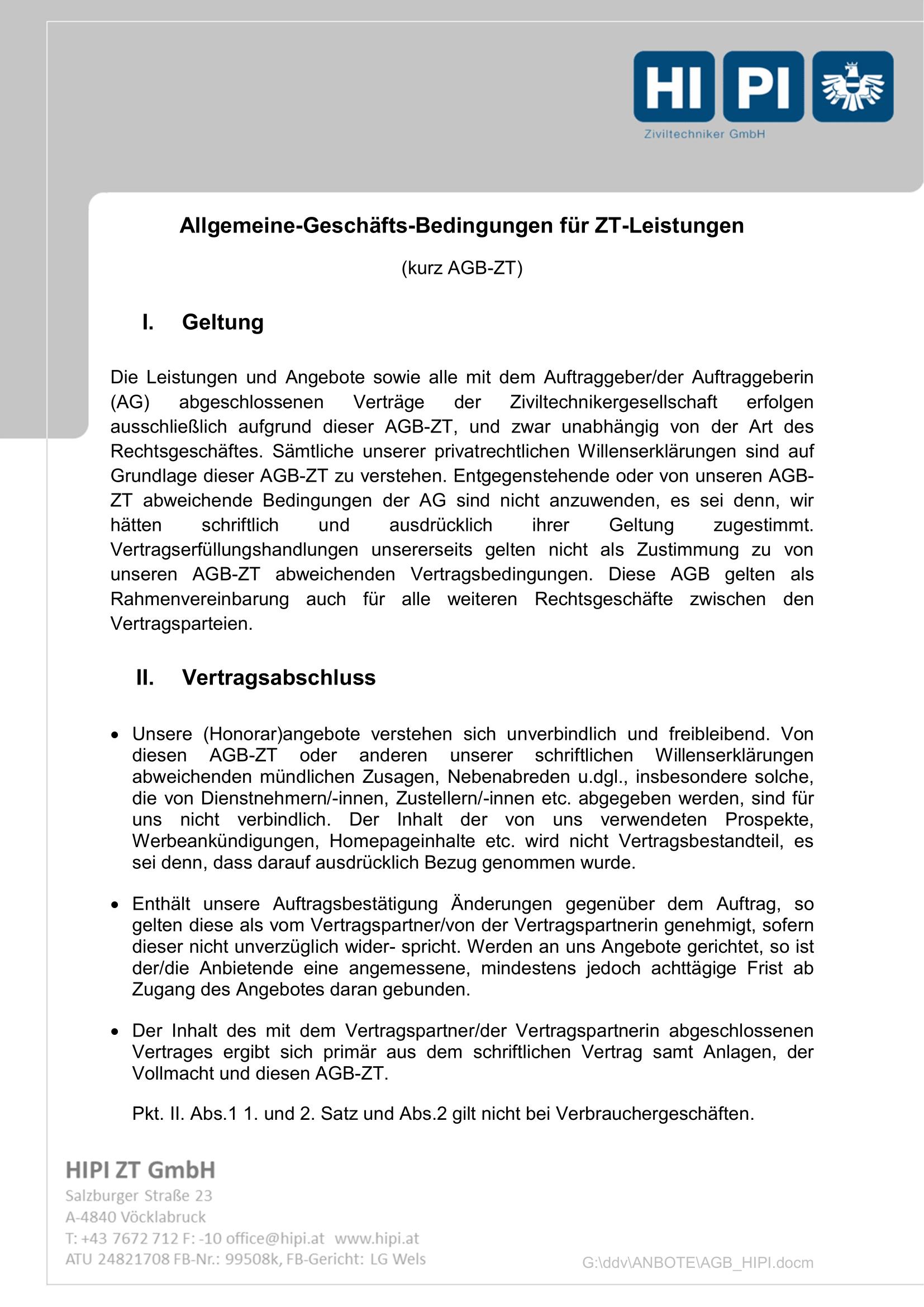 HIPI ZT GmbH AGB Seite 1