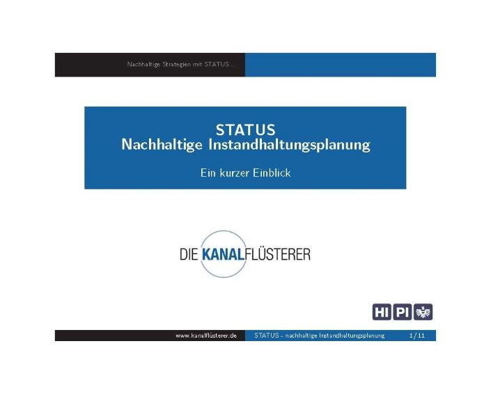 STATUS - Nachhaltige Instandhaltungsplanung