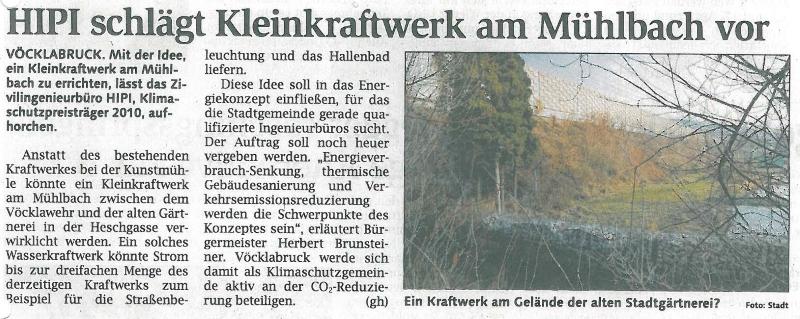 HIPI schlägt Kleinkraftwerk am Mühlbach vor