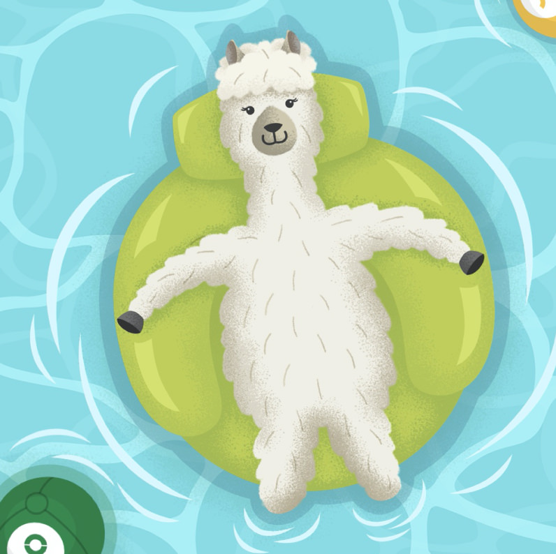 Animated image of an alpaca lying on an inflatable in a pool