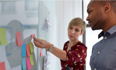 Man and woman working on a whiteboard with post-it notes
