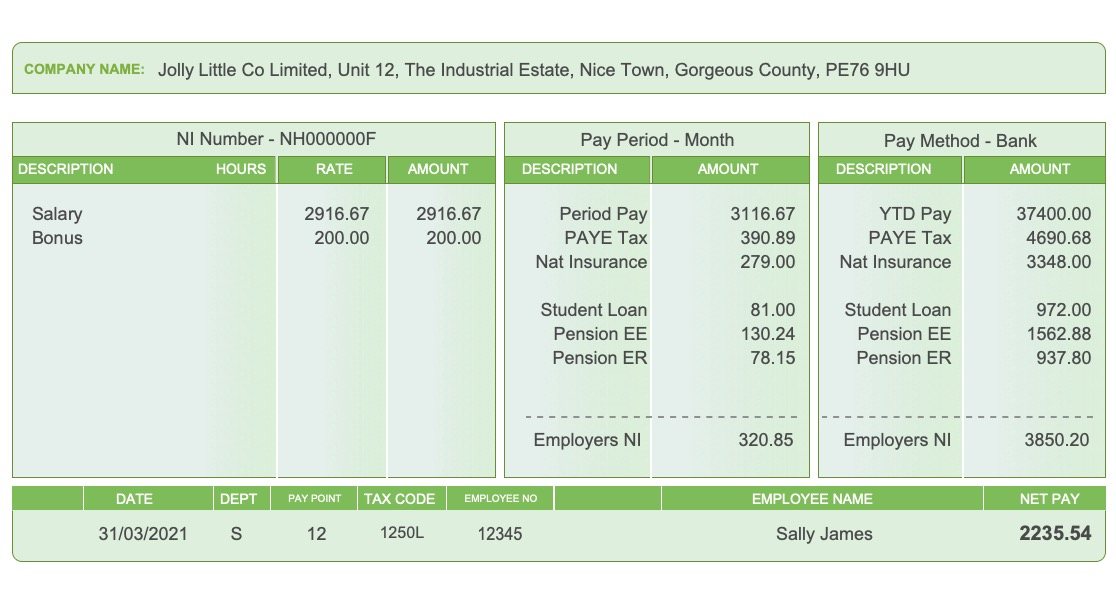 Replacement Payslip Standard Style 01