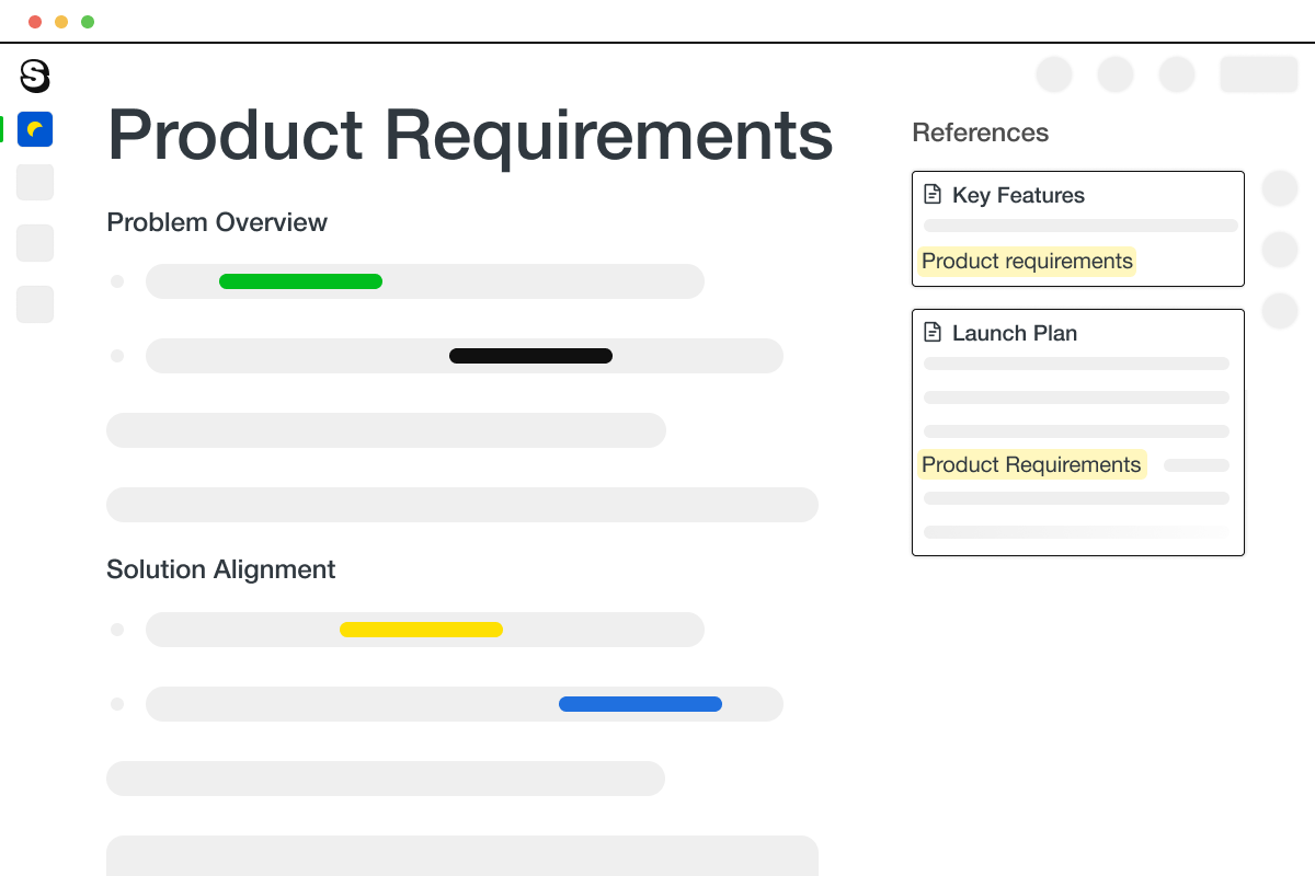 A page in Saga showing a product requirement document used by a product team in a company.