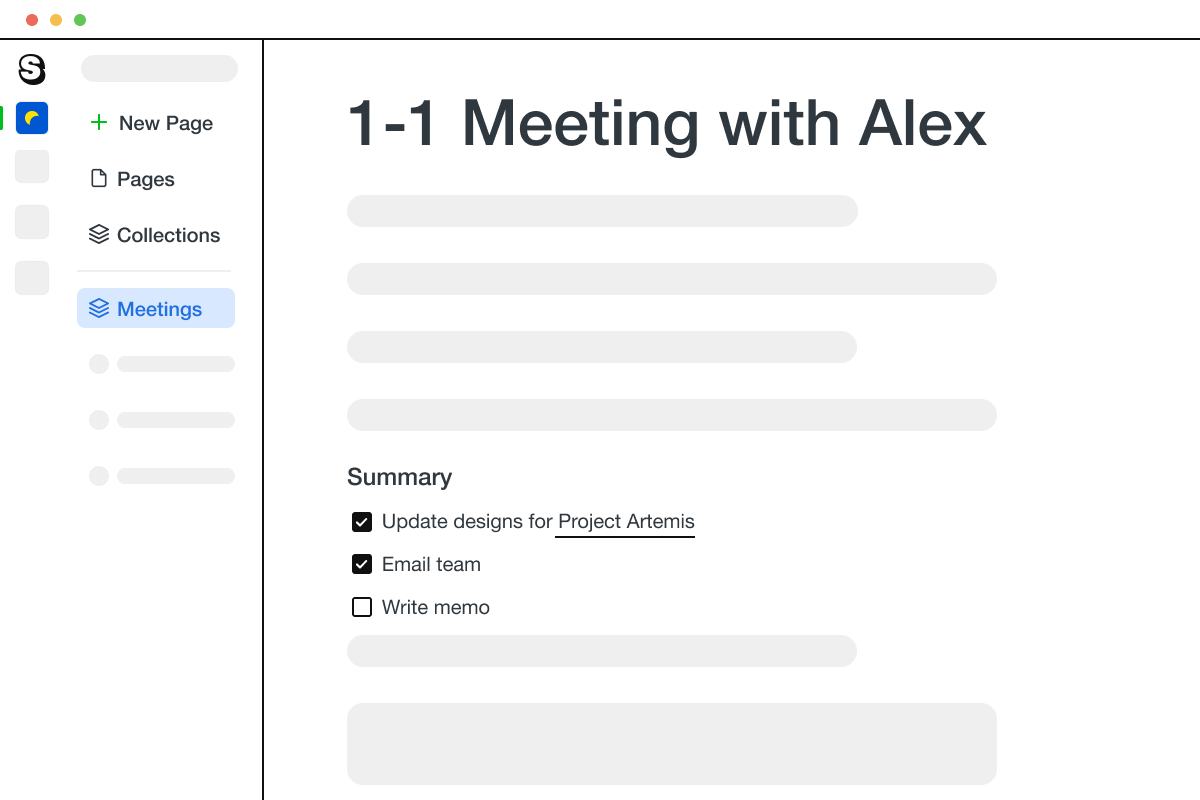 A page in Saga showing a meeting note for a 1:1 meeting with a team member.