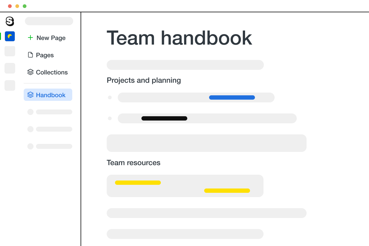 A page in Saga showing a team handbook and a project wiki.
