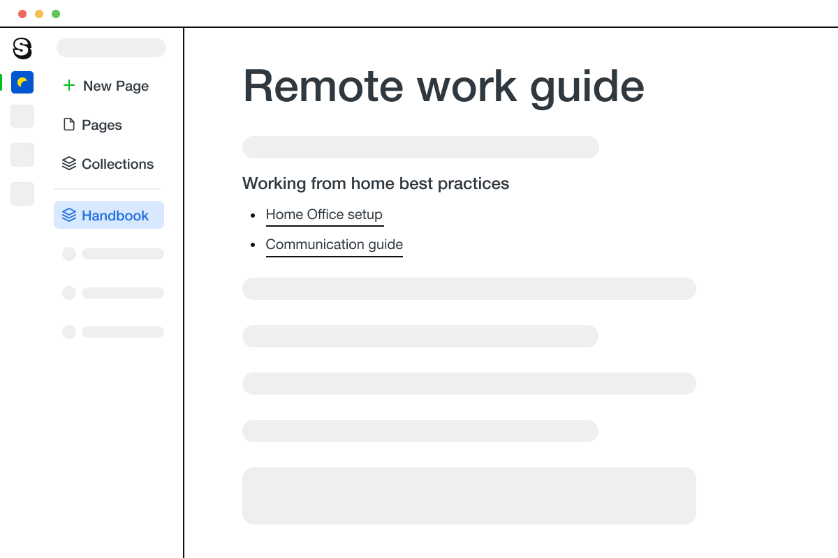 A page in Saga showing a guide that explains how a company can work as a remote team.