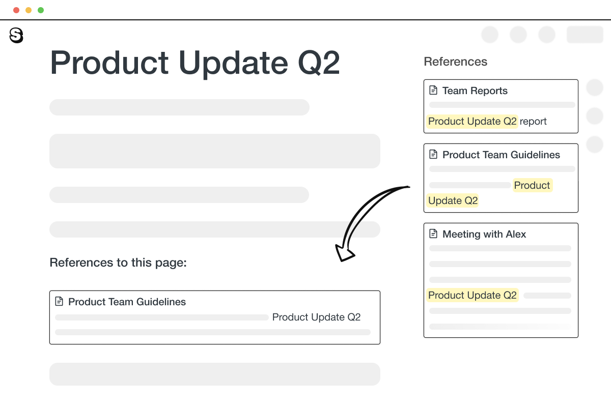 An illustration showing references in Saga. References to a page titled Product Update Q2 are displayed on the right side of the screen.