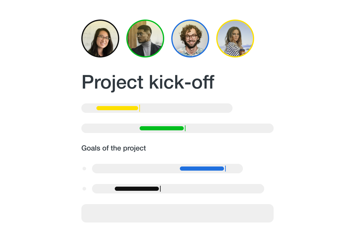 An illustration showing collaborative editing of a Project kick-off document inside Saga.