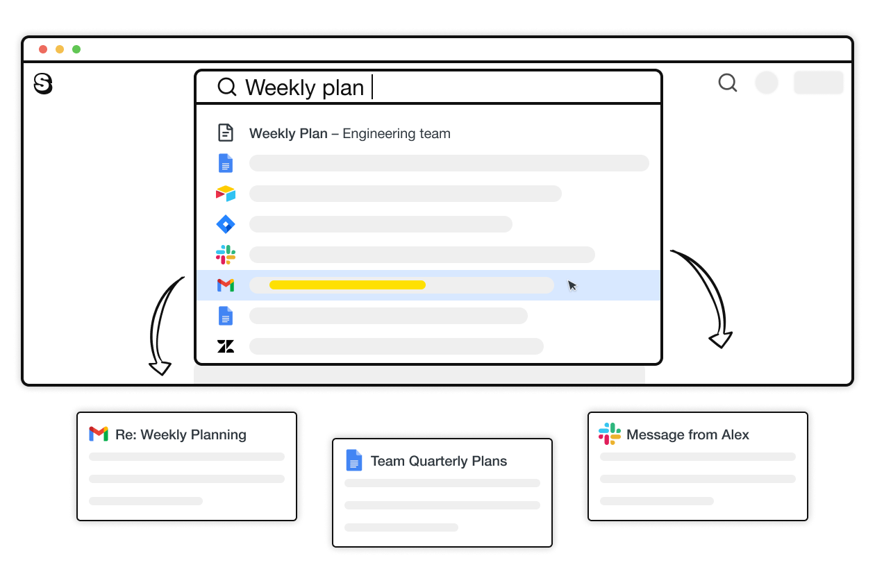 An illustration showing how integrations work in Saga. Results from Google Docs, Slack, JIRA, Gmail, Zendesk are displayed inside the search menu in Saga.