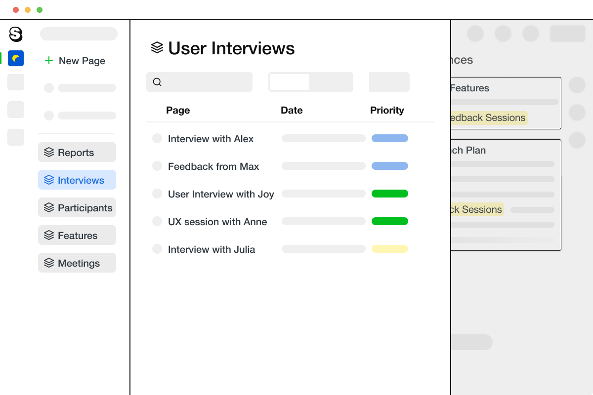 An illustration of the Saga app, showing a table of participants that are included in a usability study. The table contains a column for the date of the interview and a priority column.