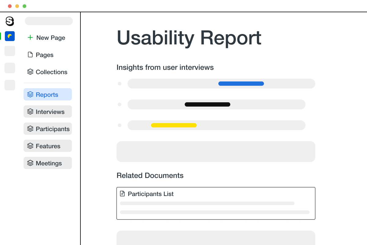 An illustration of the Saga app, showing a page for a usability report that combines user research insights from different pages across Saga.