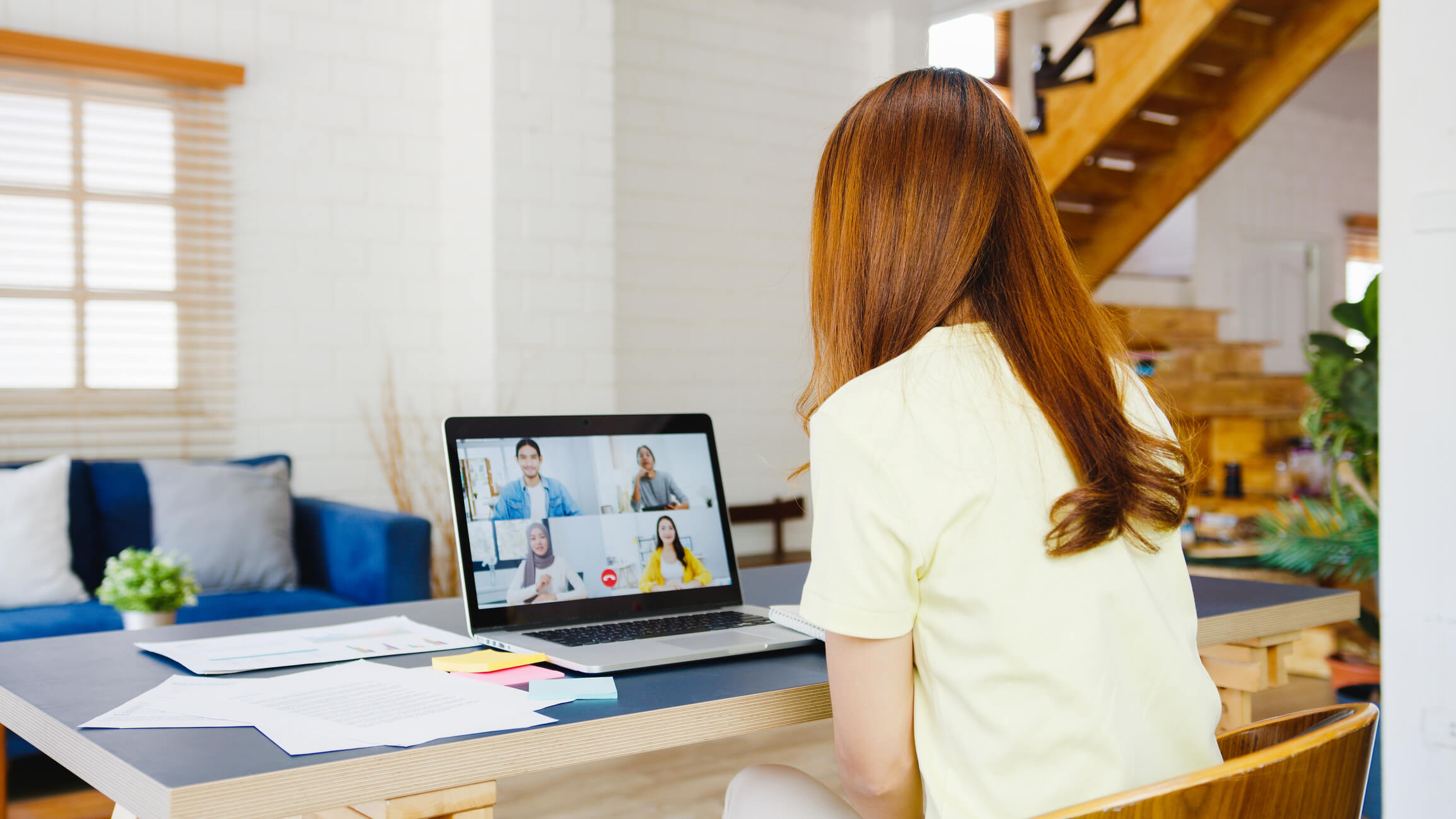 Remote worker on a Zoom call