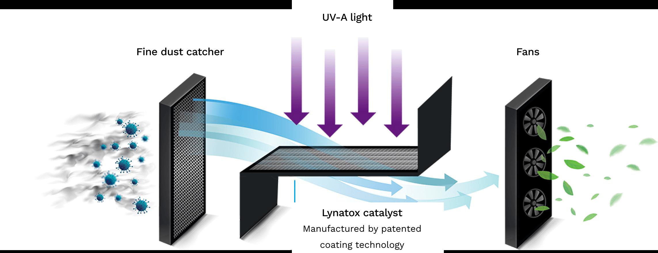 Visual Lynatox air purification process