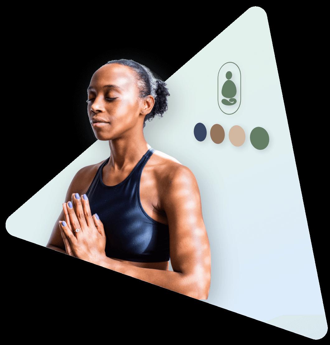 Woman meditating yoga brand strategy FitQuest Braden Mosley Ben Hermann