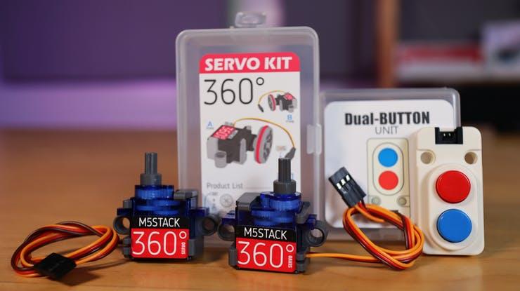 M5Stack's LEGO-compatible Servo Kit 360° and Mini Dual Button Unit