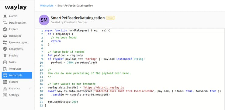 Creating a webscript on Waylay IO