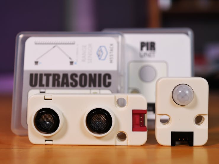 M5Stack's Ultrasonic Distance Unit and PIR Motion Sensor