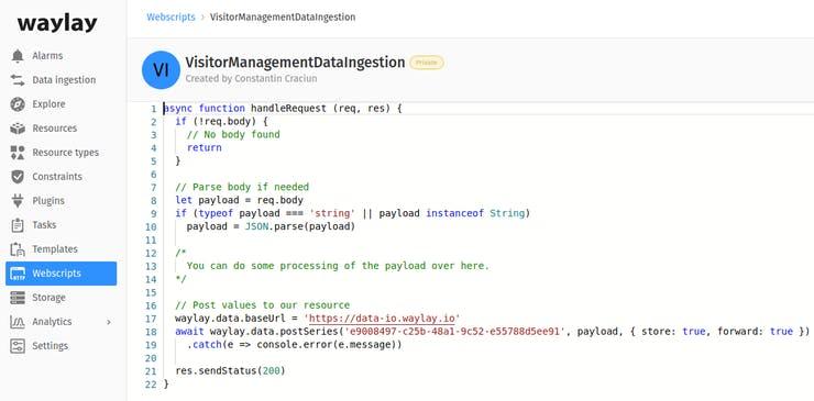 Webscript on Waylay IO